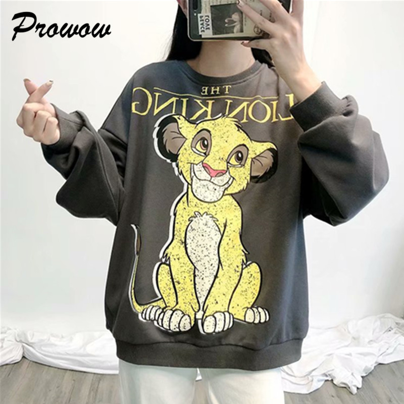 The Lion King Women Clothing Sweatshirt Streetwear Dumbo Print Spring Fashion O Neck Long Sleeve Oversize Pullover Sweatshirts