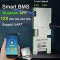Smart BMS 12S 60A 40A 30A 20A Lifepo4 li-ion Lithium-eisen batterie schutz bord W balance BMS Bluetooth APP software-monitor