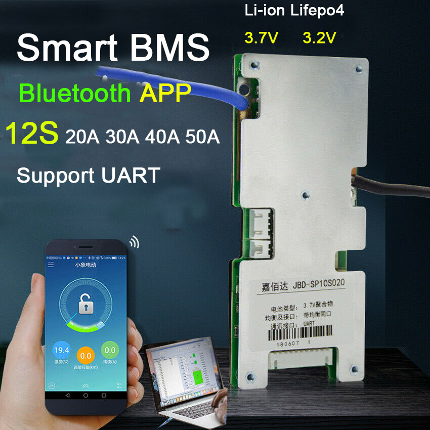 Smart BMS 12S 60A 40A 30A 20A Lifepo4 Li-ion Lithium Iron Battery Protection Board W Balance BMS Bluetooth APP Software Monitor