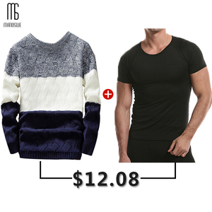 Manoswe Casual Long Sleeve Autumn Winter Sweater Men Korean Style Slim Knitted Blue Sweater Pullover Jumper Fashion Christmas