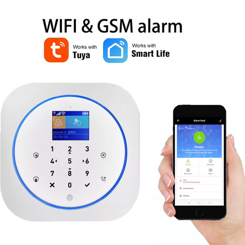 WiFi GSM Wireless Security Alarm With Tuya APP Alexa Google Smart Home Voice Control TouchScreen RFID IP Cam  Touch Screen RFID