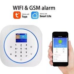 WiFi GSM bezprzewodowy Alarm bezpieczeństwa z aplikacją Tuya Alexa Google inteligentny dom sterowanie głosem ekran dotykowy RFID IP Cam ekran dotykowy RFID w Zestawy systemów alarmowych od Bezpieczeństwo i ochrona na