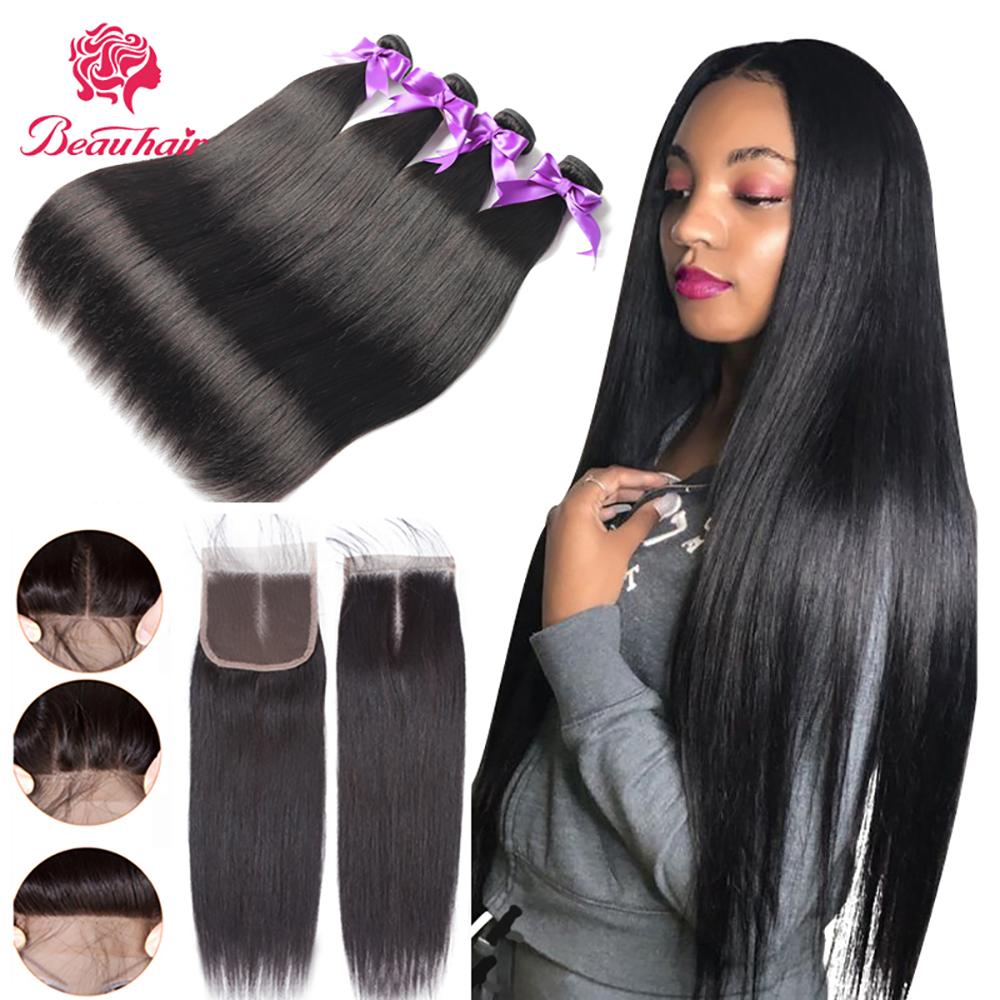Straight Bundles With Closure Brazilian Hair Weave Bundles With Closure Human Hair Bundles With Closure Hair Extension Beau Hair