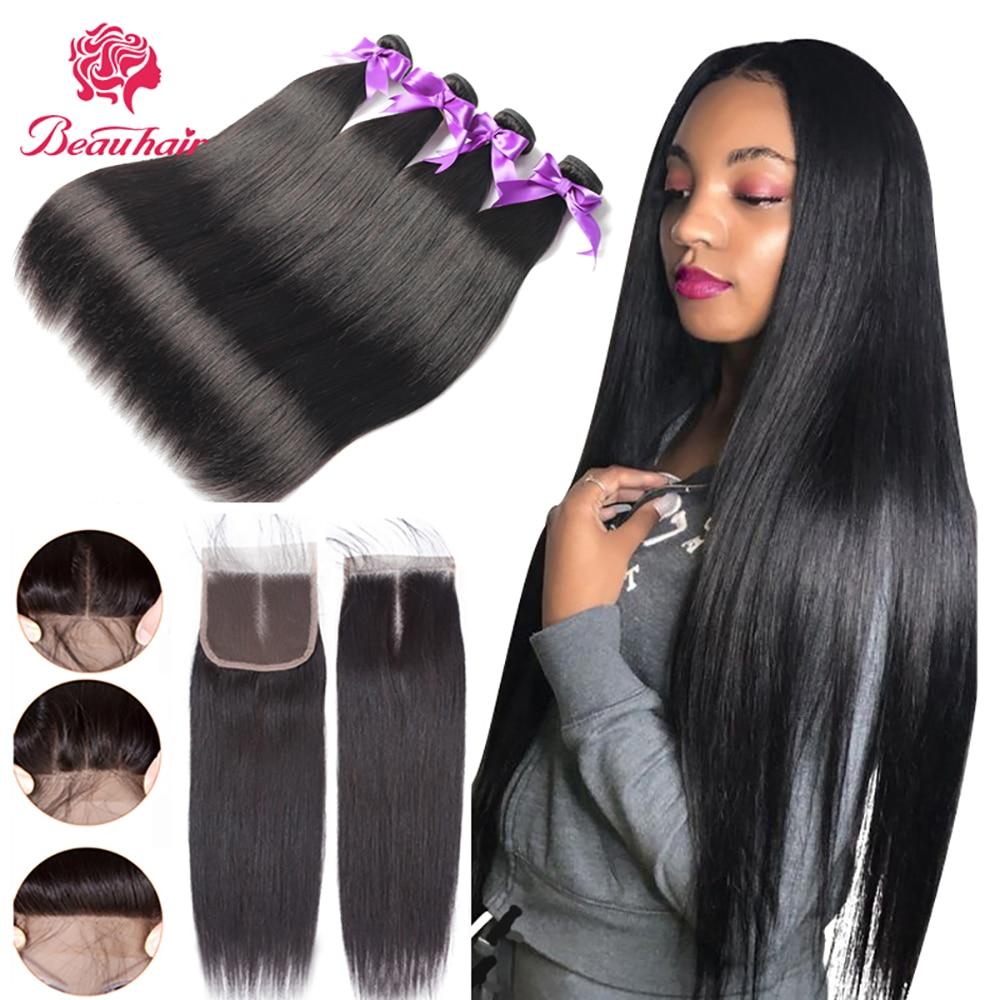Straight Bundles With Closure Brazilian Hair Weave Bundles With Closure Human Hair Bundles With Closure Hair Extension Beau Hair