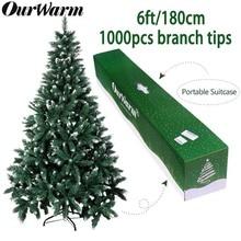 OurWarm 6 футов поддельная искусственная Флокированная Рождественская елка со снегом, прочная металлическая подставка, рождественские украшения для дома, для предотвращения пожаров