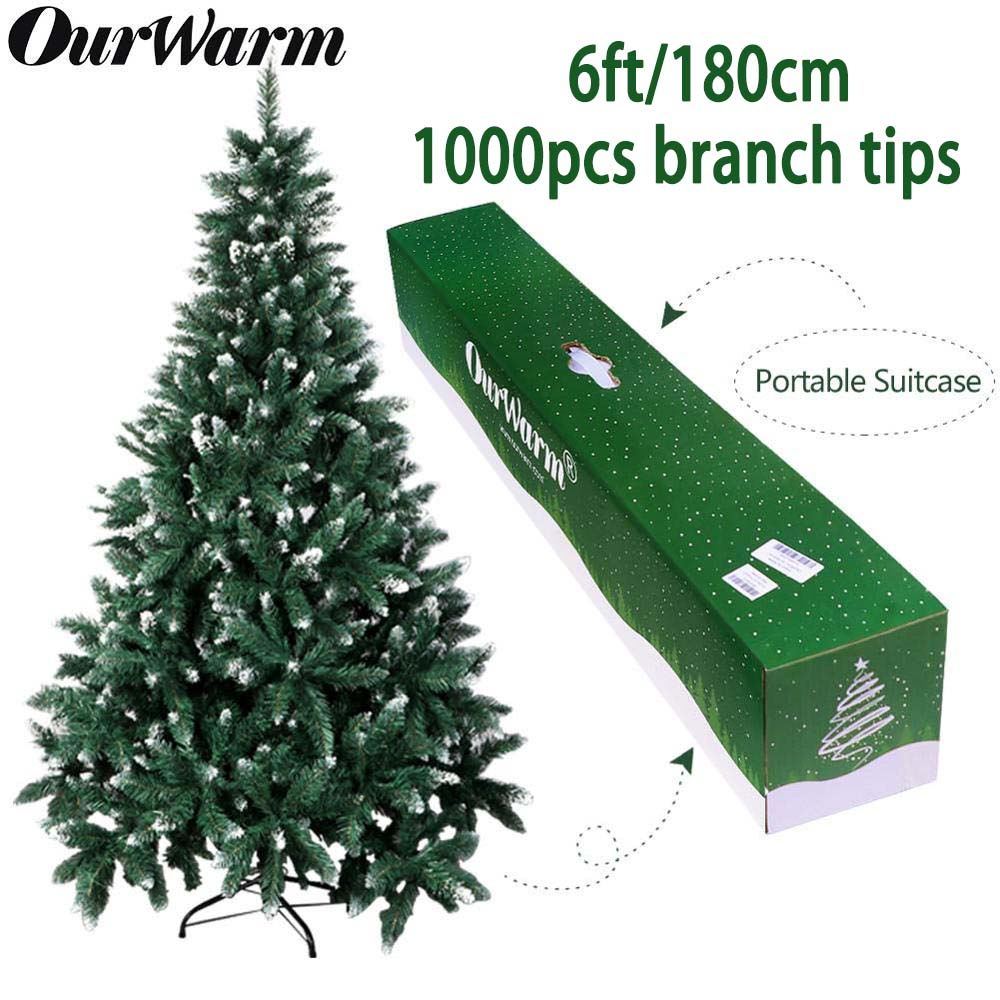 OurWarm 6ft Fake Artificial Flocked Christmas Tree with Snow Strong Metal Stand Christmas Decorations for Home Fire PreventionTrees   -