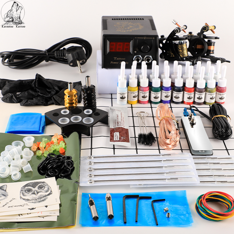 Tattoo-Kit Complete-Tattoo-Set-Accessories-Supplies Power-Supply with Ink Body-Art-Tools