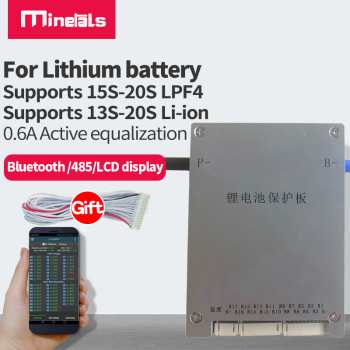 JK BMS de 60A con balanceador ACTIVO de 0.6A, soporta desde 13s a 20s Batería de litio, li-ion, lifepo4, inteligente con bluetooth, rs485, display, 15s, 16s, 17s, 18s, 19s, 20s, 21s, 22s, 23s, 24s, 48v, LFP4, 60V, compatible con 3,2 v, 3,6 v, 3,7 v  1