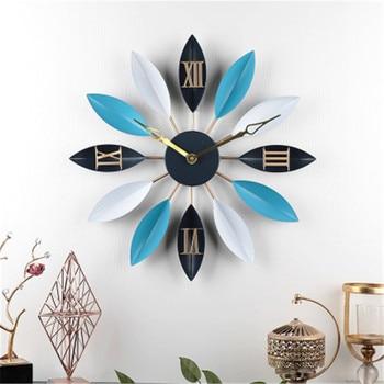 Mediterranean Living Room Leaf Wall Clock Wrought Iron Simple Mute Decor Table Modern Creative Clock Fashion Europ Clock M4457