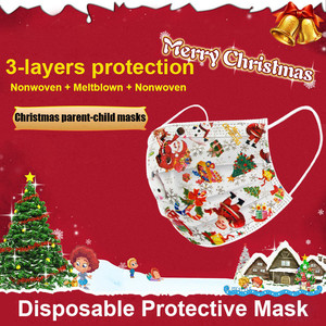 Image 4 - 20 100pc Face Mask Childrens Disposable Face Cover Christmas Halloween Print Parent child Mouth Face Cover Dustproof Mascarilla