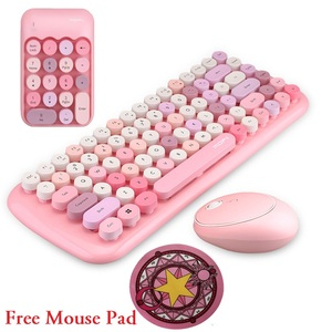 Image 1 - Notebook 3 in 1 Wireless Keyboard Mouse Combos 2.4G Wireless Number Pad Pink Round Punk Mini Keyboard and Mouse Free Mouse Pad