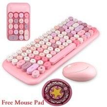 Notebook 3 in 1 Wireless Tastatur Maus Combos 2,4G Wireless Anzahl Pad Rosa Runde Punk Mini Tastatur und Maus freies Maus Pad