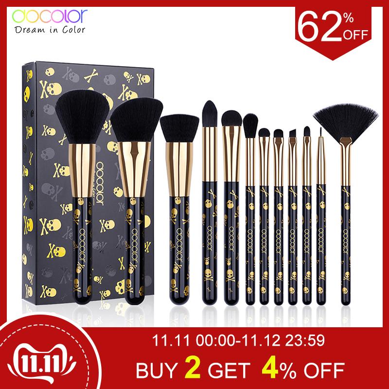 Docolor Makeup Brushes 12PCS Make Up Brush Set Powder Contour Eyeshadow Eye Shadow Brushes Soft Synthetic Hair Brush Kit