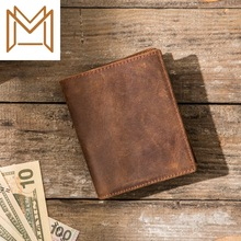 Manual Crazy Horsehide Head Layer Cowhide Style Vertical Section Man Wallet Concise Used Genuine Leather Wallet