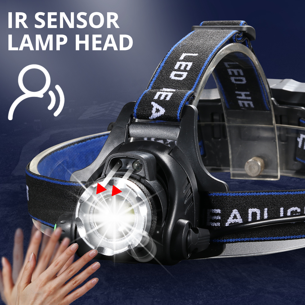 IR Sensor Headlight USB Rechargeable V6/L2/T6 Induction LED Headlamp Fishing/Camping Torch Lantern By 18650 Battery