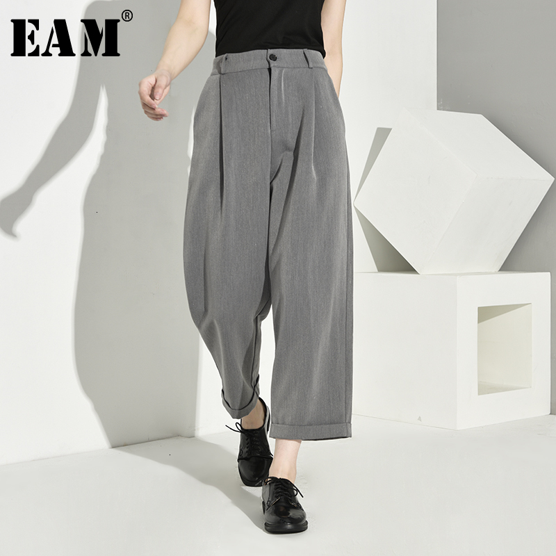 [EAM] High Waist Gray Brief Temperament Long Wide Leg Trousers New Loose Fit Pants Women Fashion Tide Spring Autumn 2019 1A7870