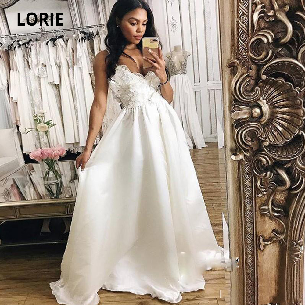 LORIE Sleeveless Satin Wedding Dresses Lace Boho 2019 Back Lacing Beach Bridal Gowns Spaghetti Straps Princess Wedding Gown