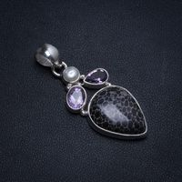 Natural Turritella Agate,River Pearl and Amethyst Boho 925 Sterling Silver Pendant 2 T0324