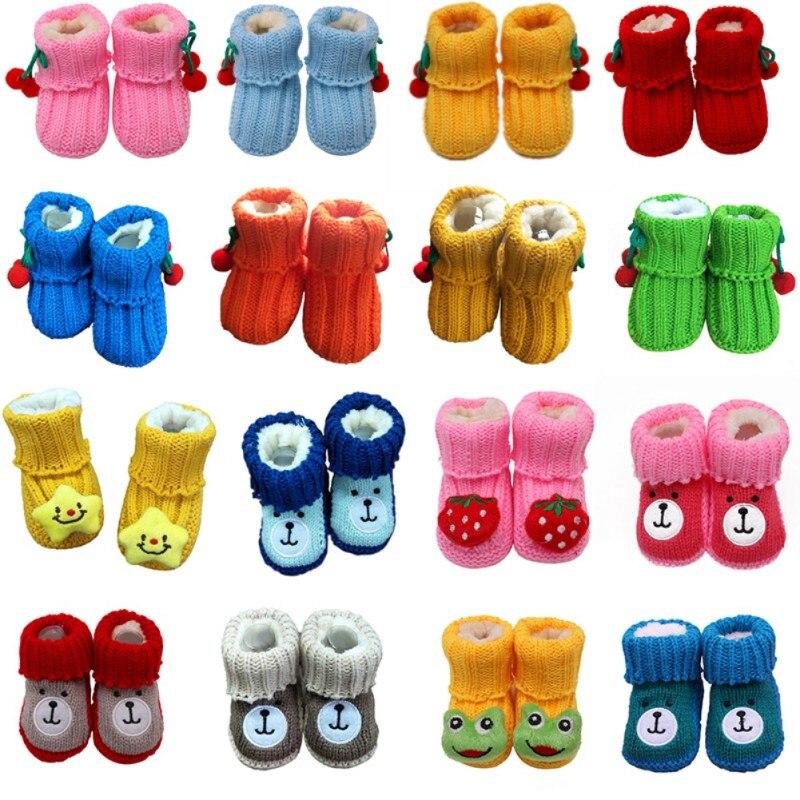 Baby Winter Shoes Newborn Baby Cute Soft Crib First Walkers  Handmade Infant Boys Girls Crochet Knit Winter Warm Booties 0-1T