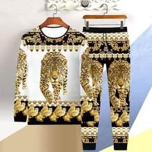 Vendita calda autunno e inverno T-shirt a maniche lunghe uomo 3D tiger T-shirt casual pantaloni 2 pezzi abiti abito drago stile cinese