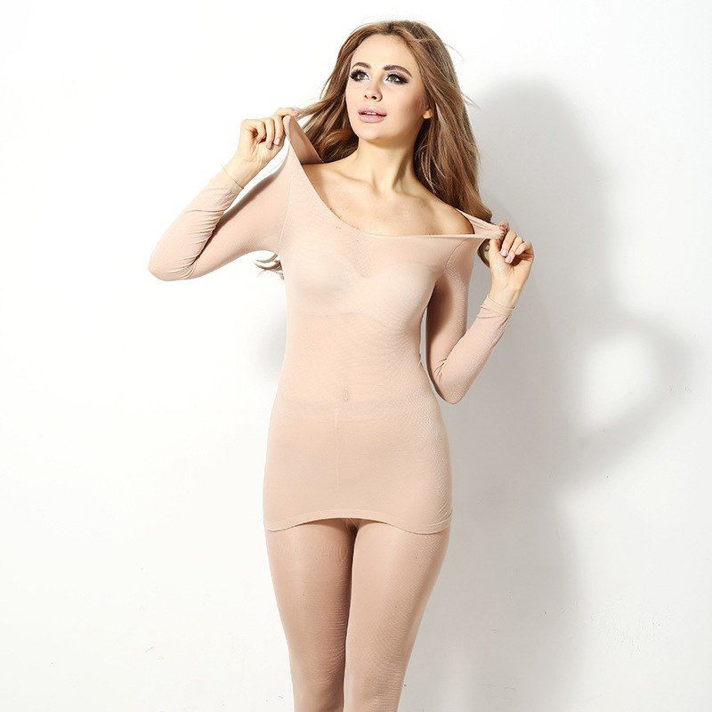 Women Winter Seamless Thermal Inner Wear Set Warm Tops+Pants 2Pcs Suit B99