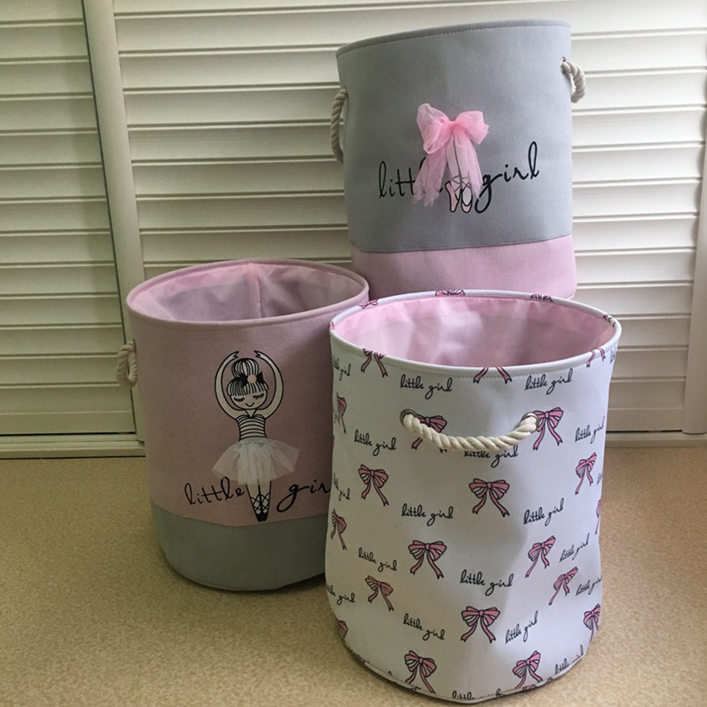 Foldable Laundry Basket for Dirty Clothes Pink Ballet Girl Toys baskets bag Organizer kids Home Storage washing Organization in Storage Baskets from Home Garden