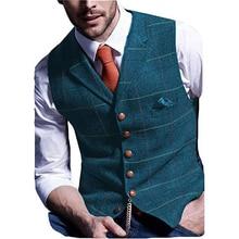 Classic Blue  Mens Vest Tweed Waistcoat Notch Lapel Wool Herringbone Vintage Suit Waicoat Single breasted Man Top