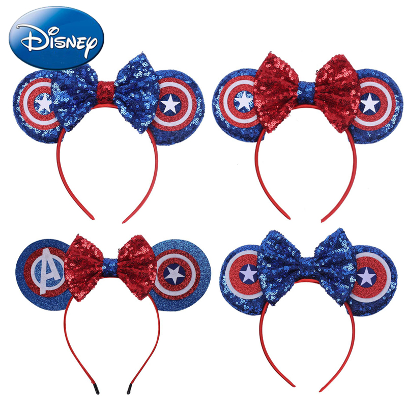 Disney bandeau arcs Minnie souris oreille bandeau filles femmes grandes paillettes oreilles bricolage enfants cheveux-accessoires bandeau Kawaii nouvelles couleurs