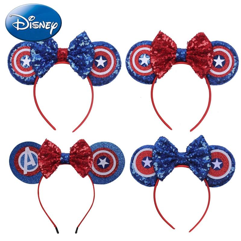 Disney bandeau nœuds Minnie Mouse oreille bandeau filles femmes grandes paillettes oreilles bricolage enfants cheveux-accessoires bandeau Kawaii nouvelles couleurs