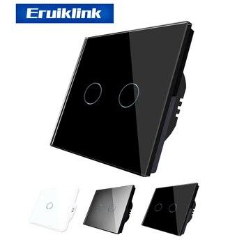 цена на Eruiklink EU/UK Standard luxury Wall Touch Sensor Switch, Wall Light Touch Switch,Crystal Glass Touch Screen Light Switch