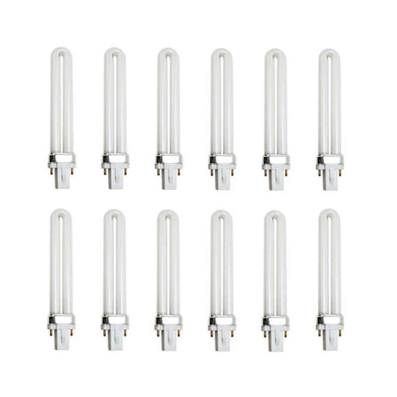 U-образная УФ-лампа 12 шт./лот 9 Вт, лампы, 2 контакта для 36 Вт гель-лака, Сушилка для ногтей, 365 нм, белый свет