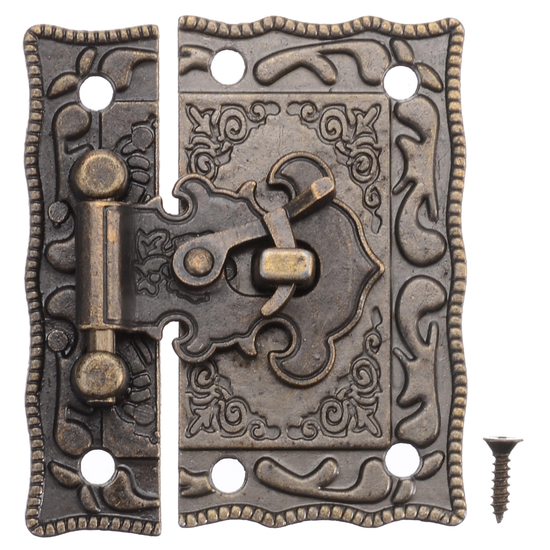 1pcs Antique Wooden Case Box Decorative Latch Hasp Security Lock Cabinet Hinge Furniture Hardware Hasps