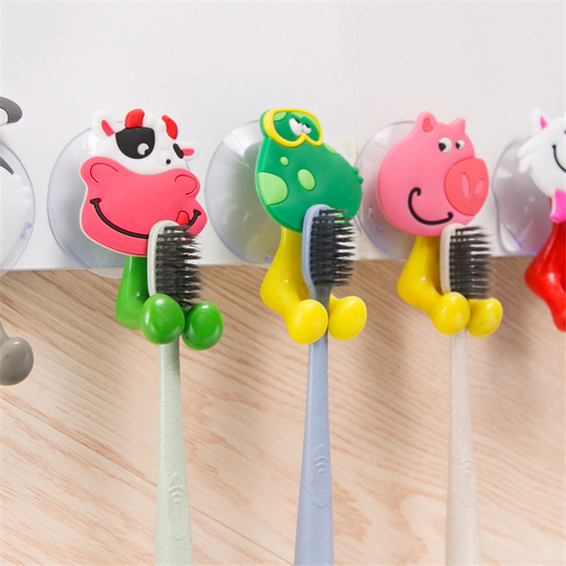 5 Pcs Toothpaste Cute Cartoon Animals Suction Cup Holder Wall Mounted Duty Suction Cup Antibacterial Toothbrush Holder Hooks Set image