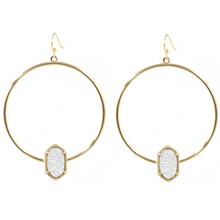 New Arrival Gold Color Big Round Dangle Earring Alloy Circle Small Oval Druzy Drop Earrings For Women Earrings Fashion Jewelry big round dangle earring alloy circle small oval ab color crystal stone inaly drop earrings for women fashion jewelry