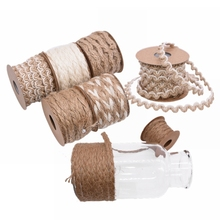 цены 5M/roll Jute Burlap Lace Rope Hessian Hemp Ribbon Vintage Rustic Wedding Party Decoration DIY Craft Gift Packing Webbing Supplie