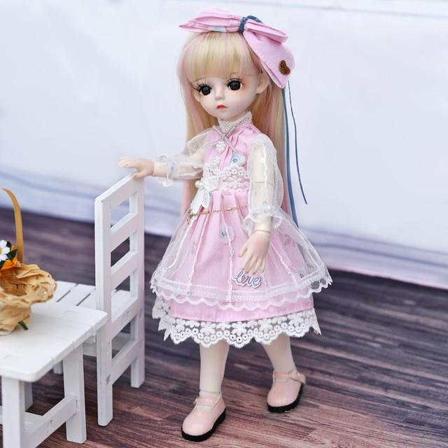 UCanaan BJD Doll 1/6 SD Doll 18 Ball Jointed Dolls With Full Outfits Dress Wig Headdress Shoes Makeup Girls DIY Dress UP Toys 4
