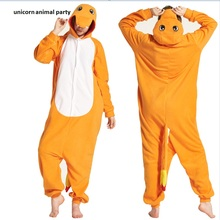 Kigurumi Adult Charmander Onesies Cosplay Costume Fire Dragon  Anime Pokemon Sleepwear Pajamas Jumpsuit Halloween Carnival