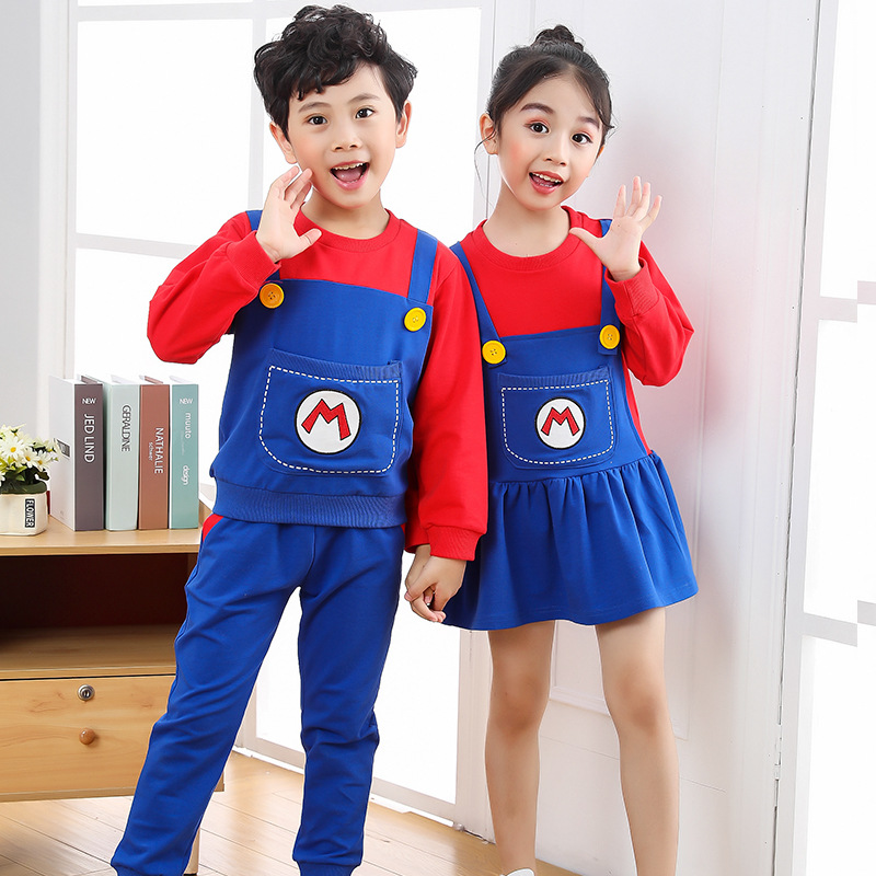 2021 New Year Christmas Clothes Super Marios Children's Bib Dress Luigi Cosplay Costume Anime Family Set Boys Girls Kids Gifts 4