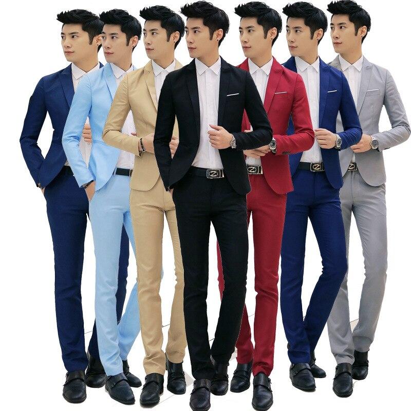 New Style Men Fashion Slim Fit Solid Color Tops Korean-style Men'S Wear Suit Two-Piece Set