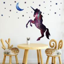 Creative Moon Star Unicorn Wall Sticker Childrens Room Starry Horse Gallop Cartoon for Kids