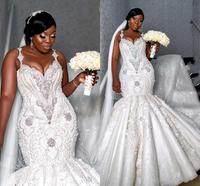 Luxury Spaghetti Crystal Beaded Mermaid Wedding Dresses Sexy African Plus Size Open Back Lace Appliqued Bridal Gown