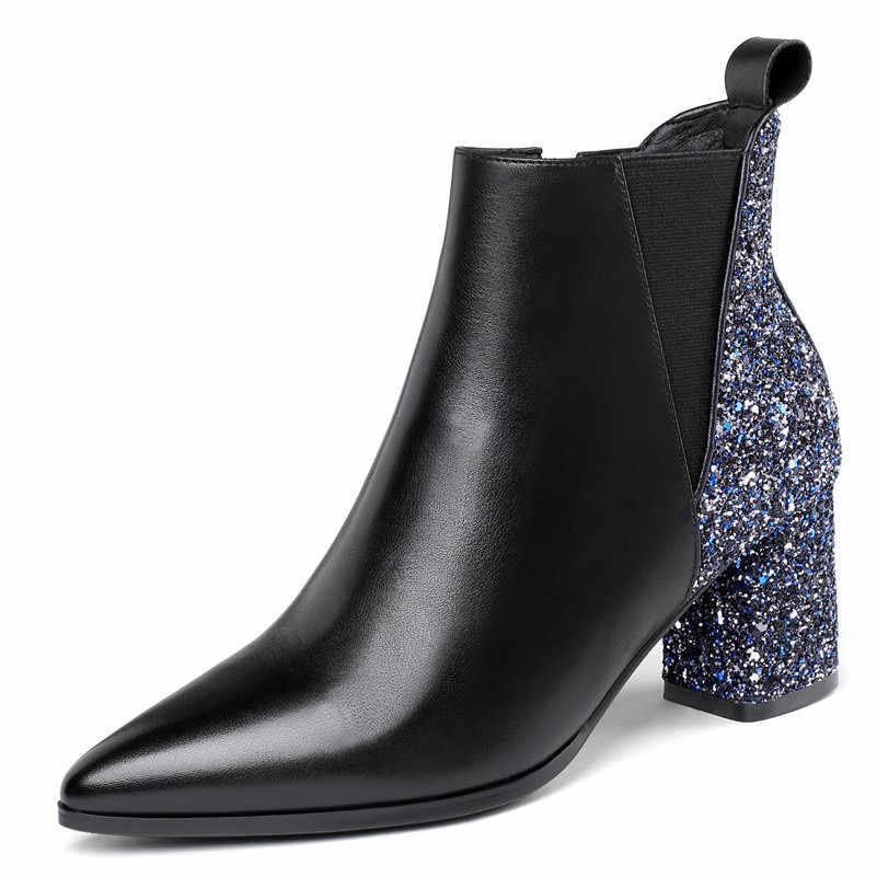 FEDONAS באיכות אמיתי עור נשים קרסול מגפי צד רוכסן קצר מגפי קלאסי גבוהה עקבים גודל גדול נקבה משרד נעלי אישה