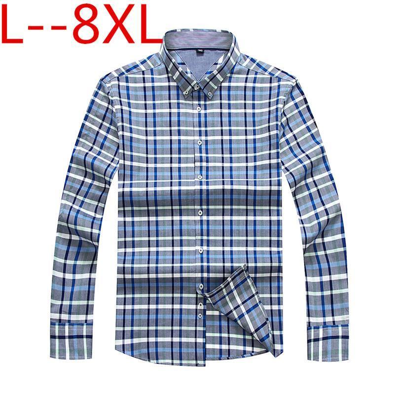 Big Size 8XL 7XL Plaid Men's Shirt Long Sleeve Shirt Mens Dress Shirts Brand Casual Fashion Business Style Shirts 100% Cotton