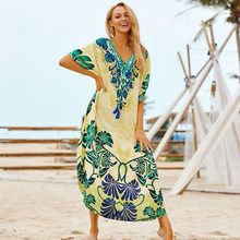 Kapas Long Beach Gaun Robe De Plage Baju Renang Wanita Cover Up Tunik Pareo Beach Cover Up Kaftan Beach Saida De praia Beachwear(China)