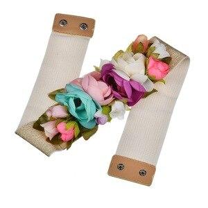 Image 4 - 2018 Red Flower Elastic Waist Belt For Women Fashion Beach Floral Forest Dress Belts Strap Girls Ladies Fabric Waistband Belts