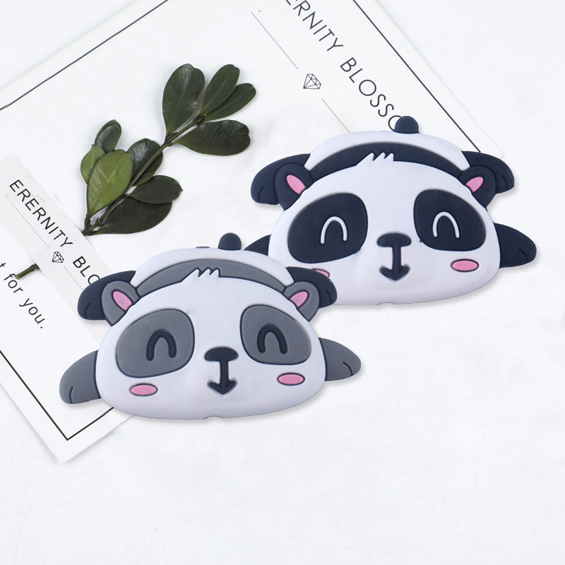 Image 3 - XCQGH 20pcs Silicone Cartoon Animal Panda Shape Teether Silicone Baby Molar Beads Pacifier Chain Accessories Baby TeetherBaby Teethers   -