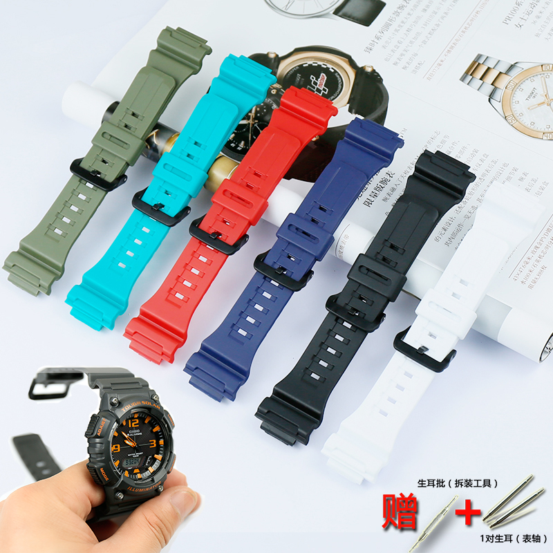 Watch Accessories Men's Resin Black Strap For Casio AQ-S810W AEQ-110W W-735H Ladies Sports Waterproof Strap