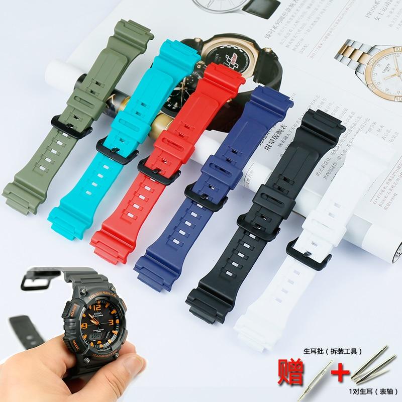 Watch Accessories Men's Resin Black Strap For Casio AQ-S810W AEQ-110W W-735H Ladies Sports Waterproof Strap