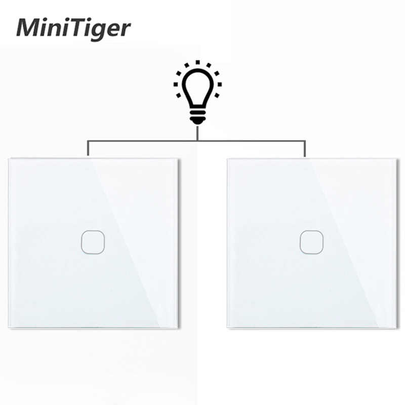 Minitiger EU 1 Gang 2 Way Wall Light Controler Smart Home Automation Touch Switch Switch Waterproof and Fireproof 2 Gang
