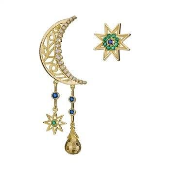 14K Gold Earring for Women Aretes Mujer Oorbellen Garnet Jewelry Orecchini 14K Yellow Gold Natural Zircon Bijoux Femme Earrings
